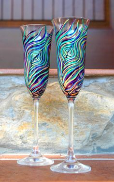 Peacock Feather Wedding Toasting Flutes--Set of 2 Personalized Champagne Flutes