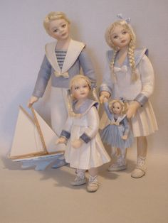 THREE CHILDREN GOING TO THE SEASIDE - Dollshouse dolls by Debbie Dixon-Paver