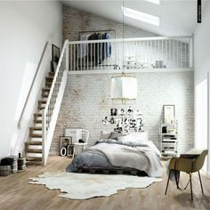 Brick wall, mezzanine, wooden floor...amazing