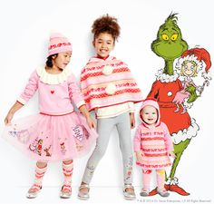 Adelaide and Dylann for Xmas, Dr. Seuss The Grinch Kids Holiday Collection