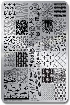 Born To Sail 02 – Lina Stamping Plate for Nail Stamping and Nail Art - New Sites Aztec Nails, Chevron Nails, Nautical Nail Art, Flare Nails, Nagel Stamping, Bright Summer Nails, Nail Art Stamping Plates, Nail Plate, Nail Polish