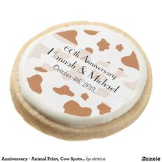 Anniversary - Animal Print, Cow Spots - Brown Round Shortbread Cookie
