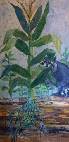 """Racoon Fabric collage and acrylic paint on canvas 2' x 4' (24"""" x 48"""") Kimberly Swait"""
