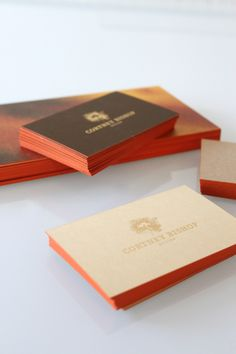 orangey business cards