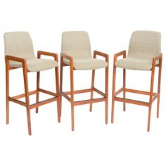 Danish Teak Sculpted Seat Barstools Modern Stools, Bent Wood, Danish Modern, Foot Rest, Teak, Bar Stools, Sculpting, Beach House, Mid Century