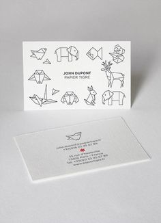 business cards cartes de visite papier tigre customization personnalisation origami