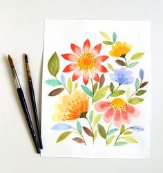 watercolor-flowers- a lot of ads on this page but nice step by step instructions