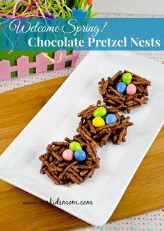 Welcome Spring! DIY Chocolate Pretzel Birds Nest