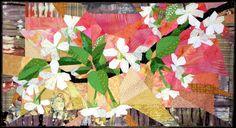 fleurs de cerisier à la perspective rappelant une estampe japonaise, par ruth mcdowell, cherry blossoms quilt