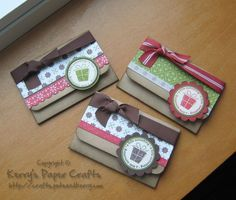 This is a cute idea for using up some of my many ribbon scraps. Could be used to hold cocoa packets.