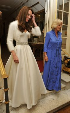 Kate and Camilla leaving to travel to Buckingham Palace for the wedding reception.
