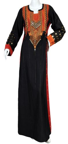 "aljalabiya.com: ""The Midnight in August Kaftan"" Pure cotton jalabiya with hand and machine embroidery (N-10276)  $114.00"