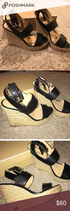 Michael Kors Wedges 💄 Brand new. Super gorgeous authentic leather MK WEDGES. These retail for $200 and up. Get it now while you can for this snap deal! Perfect for evenings out or casual outing 😍 Michael Kors Shoes Wedges