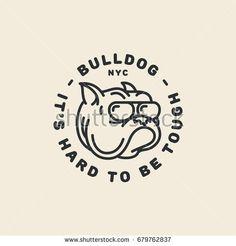 Bulldog logo template design in outline style. Vector illustration.