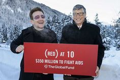 #Bono & Bill Gates mark 10 years of @RED. $350 million raised for the @GlobalFund to fight AIDS, 60 million lives impacted. #REDat10