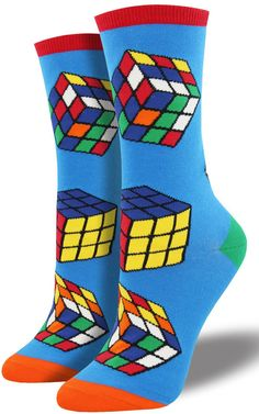 Old school gamers will recognize this colorful cube of legend. Rubik's Cube  crew socks fit