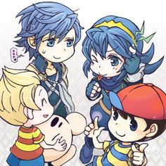 Mother's Lucas and Ness & Mr Saturn with Fire Emblem's Chrom and Lucina - Super Smash Bros