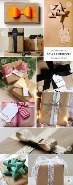 lazos de papel y de tela para adornar regalos