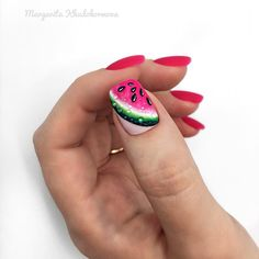 """If you're unfamiliar with nail trends and you hear the words """"coffin nails,"""" what comes to mind? It's not nails with coffins drawn on them. It's long nails with a square tip, and the look has. Get Nails, Love Nails, Gorgeous Nails, Watermelon Nail Art, Fruit Nail Art, Summer Acrylic Nails, Summer Nails, Shellac Nails, Nail Polish"""