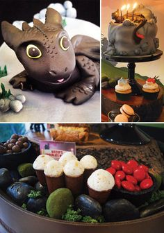 A How to Train Your Dragon dessert table with Viking hat push cake pops, dragon cookies & cupcakes, dragon's breath Jello, Toothless birthday cake + moss and river rock table decor