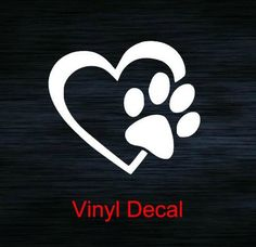 Paw Print Decal  Heart Paw Decal  Vinyl Decal  by StickUpGraphix