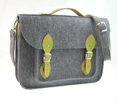 Felt Laptop 17 inch bag with pocket, satchel, Macbook Pro 17 inch, CUSTOM SIZE Laptop bag, case with leather straps and belt shoulder on Etsy, $74.00