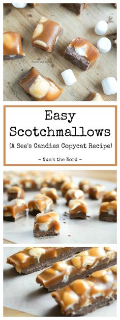 christmas candy These Easy Scotchmallows may not look like the Sees Candies version, but they are easier and just as tasty! Layers of dark chocolate, marshmallows and homemade caramel create the best candy! Tolle Desserts, Köstliche Desserts, Delicious Desserts, Dessert Recipes, Yummy Food, Recipes Dinner, Pasta Recipes, Crockpot Recipes, Soup Recipes
