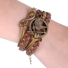 Metal Hunger Games Birds Infinity Bangle Leather Multilayer Bracelet (COFFEE) | Everbuying.com