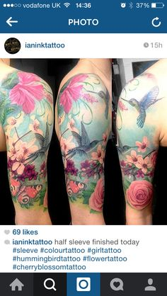 Half sleeve Pastel. Hummingbirds. Cherry blossoms. Roses