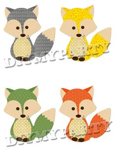 Printable party decor foxes Clip Art foxes clipart holiday decoration favor tags pdf file digital scrapbooking diy birthday party (660)