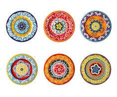 Set de 6 platos llanos de gres Nador Mix - Ø27 cm