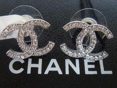 Authentic Chanel Cc Silver Crystal Pierced Stud Earrings For 150 Jewelry