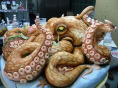 200lb octopus cake.  Looks real!
