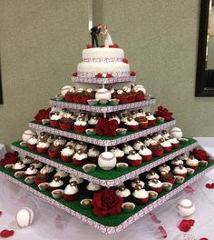 Ha! Baseball themed wedding cake! My husband would have LOVED this so much! Large Square Cupcaketree cupcake stand.