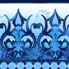 Return to Atlantis Border Blue-Pacific Fabrics and Crafts 10.99/ Yd
