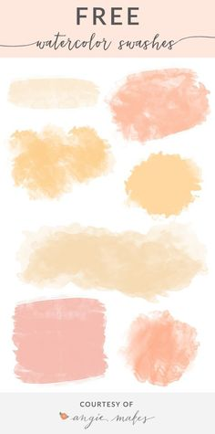 Free Watercolor Swash Backgrounds. You'll love these versatile watercolor swashes. Free for use in your design projects! I think they'd look great on wedding invitations, blog headers, in logos and more. Yummy! angiemakes.com