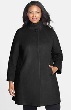 Cinzia Rocca Stand Collar Wool Blend Coat (Plus Size) available at #Nordstrom