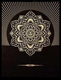 lotus diamond black and gold by Shepard fairey