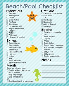 Beach Trip Discover Printable Beach Checklist - In The Playroom Free printable beach and pool checklist and beach tips for your family this summer Beach Camping, Camping Gear, Beach Travel, Camping Snacks, Beach Vacations, Camping Trailers, Couples Camping, Cancun Vacation, Camping List
