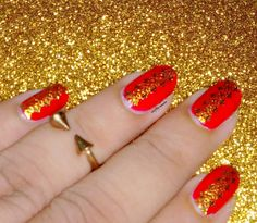 Another different angle view of my red-golden lace Mani by craftynailss