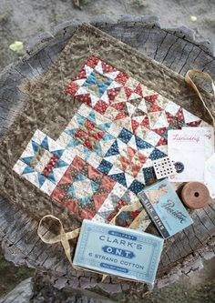 "Temecula Quilt Co: Summer Stars finishes 16"" square with 8 pieced blocks. Blocks finish 4"""
