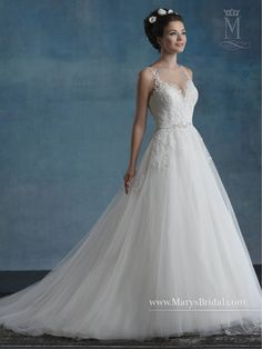 Collection: Bridal Gowns - Unspoken Romance    STYLE: S17-6565         Description: Sleeveless A-line tulle bridal gown with illusion bateau neck line, sheer back, lace and pearl embellishment, beaded belt, and chapel train.