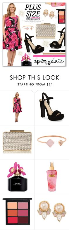 """""""Spring Date: Pretty Plus-Size Style"""" by dressedbyrose ❤ liked on Polyvore featuring London Times, Jessica Simpson, L.K.Bennett, Michael Kors, Marc Jacobs, Victoria's Secret, MAC Cosmetics, Carolee, plussize and polyvoreeditorial"""