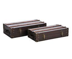Set de 2 maletas decorativas en madera DM y hierro – marrón