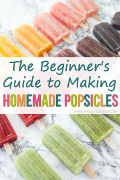 Popsicles are the perfect summer treat. Here is a simple, helpful guide to get you started making your own homemade popsicles. Popsicles are the perfect summer treat. Here is a simple, helpful guide to get you started making your own homemade popsicles. Home Made Popsicles Healthy, Homemade Fruit Popsicles, Peach Popsicles, Healthy Popsicle Recipes, Ice Pop Recipes, Baby Food Recipes, Frozen Fruit Popsicles, Baby Popsicles, Fruit Ice Pops