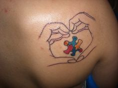 Hands are a symbol of strength and support and the shape of them is a heart for love. The puzzle piece is the symbol for Autism. Gonna get a tattoo like this before I die. Autism Awareness Tattoo, Autism Tattoos, Design My Tattoo, Tattoo Designs, Tattoo Ideas, Puzzle Pieces, Bad Tattoos, Cute Tattoos, Autism