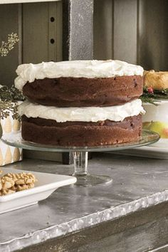 This moist, fluffy chocolate cake is topped with a cloudlike layer of sweetened whipped cream.  Get the recipe.