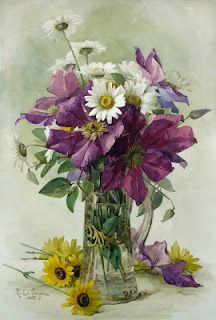 Paul de Longpre ~ sweet bouquet of clematis, daisies, and black-eyed susan