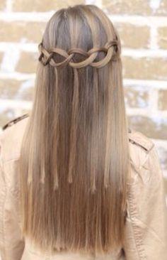 loose waterfall braid with straight hair