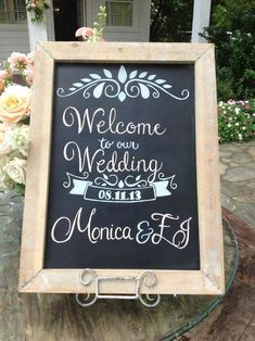Hand-drawn chalkboard sign for wedding welcome table | Creations